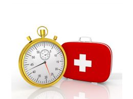 Golden Clock With First Aid Box Stock Photo
