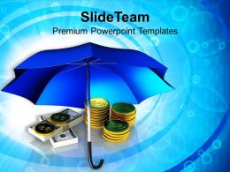 Golden Coins And Banknotes Under Umbrella Powerpoint Templates Ppt Themes And Graphics