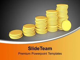 Golden Coins Arranged As Bar Graph PowerPoint Templates PPT Themes And Graphics 0213