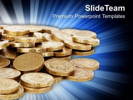Golden Coins Financial Development Powerpoint Templates Ppt Themes And Graphics 0313