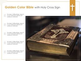 Golden Color Bible With Holy Cross Sign