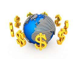 Golden Dollar Symbols Round The Globe Stock Photo