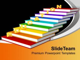 Golden Education On Books Future PowerPoint Templates PPT Backgrounds For Slides 0113