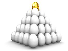 Golden Egg On Top Of White Eggs Stock Photo