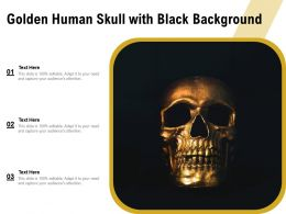 Golden Human Skull With Black Background