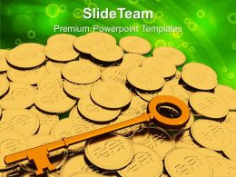 Golden Key And Coins Finance Powerpoint Templates PPT Themes And Graphics 0113