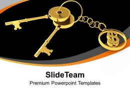 Golden Key And Dollar Sign Finance Powerpoint Templates PPT Themes And Graphics 0213