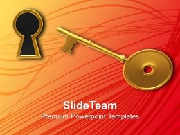 Golden Key And Keyhole Illustration Powerpoint Templates Ppt Themes And Graphics 0213