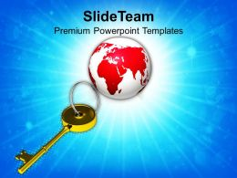 Golden Key And Planet Earth Powerpoint Templates PPT Themes And Graphics 0113