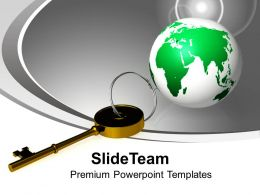 Golden Key And Planet Global Field Business Powerpoint Templates Ppt Themes And Graphics 0113