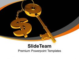 Golden Key Attached With Dollar Sign Powerpoint Templates PPT Themes And Graphics 0213