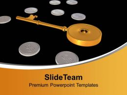 Golden Key Between Dollar Coins Security Powerpoint Templates Ppt Backgrounds For Slides 0113
