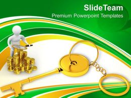 Golden Key Chain Finance Concept PowerPoint Templates PPT Themes And Graphics 0213