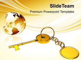 Golden Key Chain With Globe Powerpoint Templates Ppt Themes And Graphics