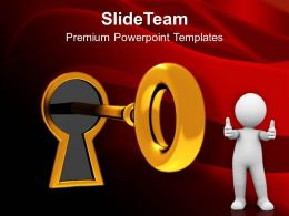 Golden Key In Keyhole Success Business Powerpoint Templates Ppt Themes And Graphics 0113