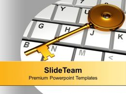 Golden Key On Keyboard PowerPoint Templates PPT Backgrounds For Slides 0113
