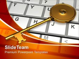 Golden Key On Keyboard Security PowerPoint Templates PPT Themes And Graphics 0213