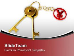 Golden Key Tied To Yen Japan Currency Powerpoint Templates Ppt Themes And Graphics 0313