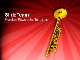 Golden Key To Success Red Background PowerPoint Templates PPT Themes And Graphics 0213