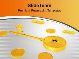 Golden Key With Coins Secure Investment PowerPoint Templates PPT Themes And Graphics 0213