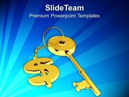 Golden Key With Dollar Sign Future PowerPoint Templates PPT Themes And Graphics 0213