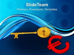 Golden Key With Euro Symbol Background PowerPoint Templates PPT Themes And Graphics 0213