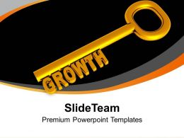 Golden Key With Word Growth Business PowerPoint Templates PPT Themes And Graphics 0213