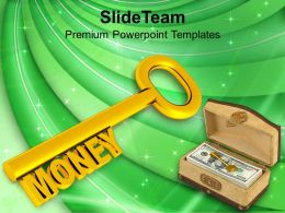 Golden Key With Word Money PowerPoint Templates PPT Themes And Graphics 0213
