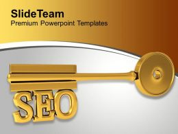 Golden Key With Word Seo Finance Marketing Powerpoint Templates Ppt Themes And Graphics 0113