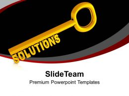 Golden Key With Word Solutions Powerpoint Templates PPT Backgrounds For Slides 0213