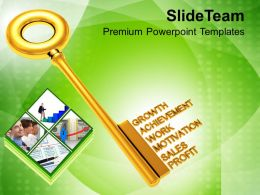 Golden Key With Words Business Terms PowerPoint Templates PPT Themes And Graphics 0213