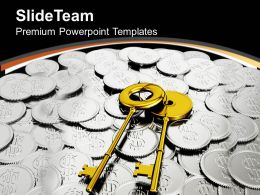 Golden Keys On Coins Security PowerPoint Templates PPT Themes And Graphics 0213