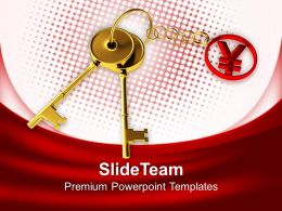 Golden Keys With Yen Keychain Powerpoint Templates Ppt Backgrounds For Slides 0213