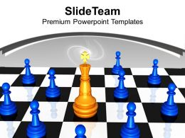 Golden King On Chess Board Leadership Powerpoint Templates Ppt Themes And Graphics 0113
