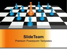Golden King With Pawns Leadership PowerPoint Templates PPT Themes And Graphics 0113