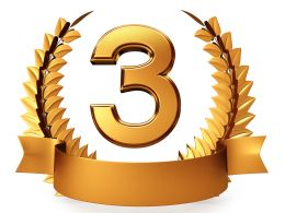 Golden Laurel With Number Three Stock Photo