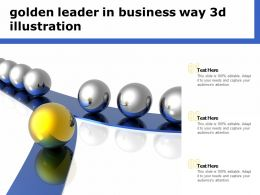 Golden Leader In Business Way 3d Illustration