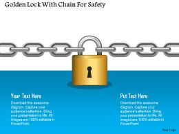 Golden Lock With Chain For Safety Powerpoint Template