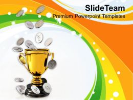 Golden Trophy And Coins Winner Business Powerpoint Templates Ppt Themes And Graphics 0213