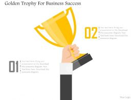 Golden Trophy For Business Success Flat Powerpoint Design