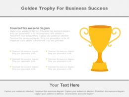 Golden Trophy For Business Success Representation Powerpoint Slides