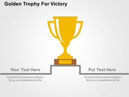 Golden Trophy For Victory Flat Powerpoint Design