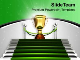 Golden Trophy On Green Carpet Winner Powerpoint Templates Ppt Themes And Graphics 0313