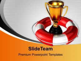 Golden Trophy Under Safeguard Help With Win Powerpoint Templates Ppt Themes And Graphics 0113