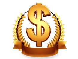 Golden Trophy With Dollar Symbol Stock Photo