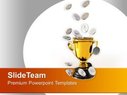 Golden Trophy With Silver Coins Powerpoint Templates Ppt Themes And Graphics 0313