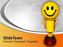 Golden Trophy With Smiley Winner Success Powerpoint Templates Ppt Themes And Graphics 0113