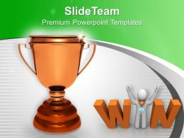 Golden Trophy With Winner Success Powerpoint Templates Ppt Themes And Graphics 0313
