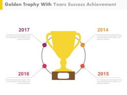 Golden Trophy With Years Success Achievement Powerpoint Slides