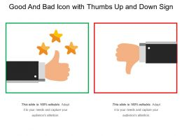 Good And Bad Icon With Thumbs Up And Down Sign